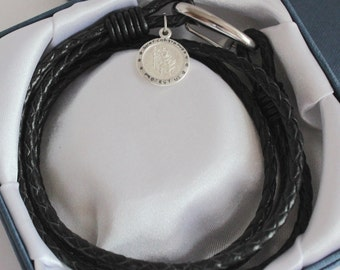 Men's Black Leather Wrap Bracelet with 925 Sterling Silver Saint Christopher and Personalised Engraving, Includes Gift Box & Free Shipping