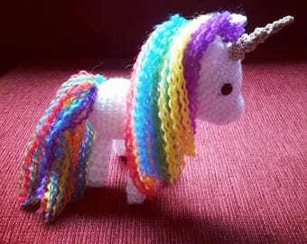 Hand Crocheted Amigurumi Rainbow Unicorn