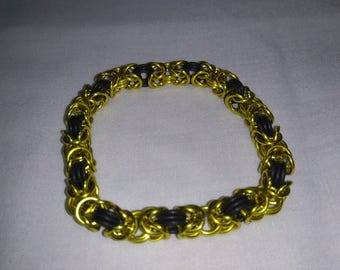 Yellow And Black Byzantine Chainmail Bracelet Anodized Aluminum And EPDM Rubber Handmade