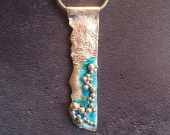 Beautiful Sterling Silver & Enamel Seascape Necklace