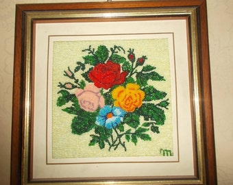 Handmade seed beads flower wall artwork