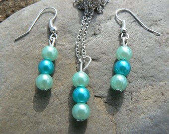 Aqua Pearl necklace and earrings