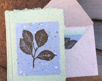 Beech Tree BLUE Handmade Greeting Card made from Block Printed Handmade Recycled Paper