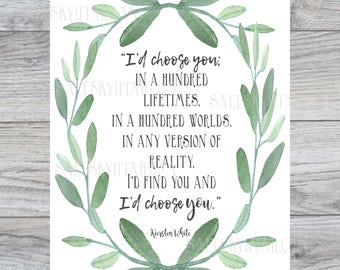 I'd Choose You, romantic digital print, wedding reception decor, wedding art, digital download