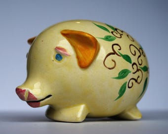 VINTAGE Cute Handpainted Ceramic Piggy Bank with 'Save your bacon' printed at the top