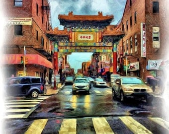 Philly Chinatown In Spring Rain: Giclee Print