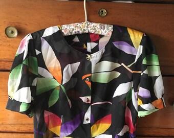 Vintage 80's floral blouse size S