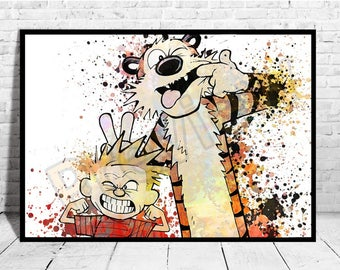 Calvin hobbes art etsy for Calvin and hobbes kids room