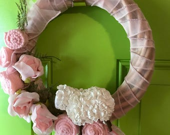 Baby Girl  Announcement Wreath