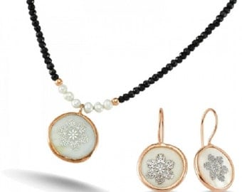 Natural Stone Pendant Necklace Earrings