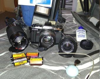 Minolta x-570 camera w/2 lenses and flash