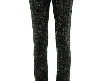 Black sequin Tuxedo pants