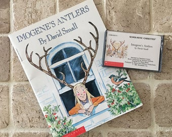 Imogene's Antlers - Book & Audio Cassette Tape Set - Kid's Storybook by David Small