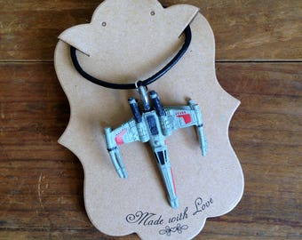 Vintage Star Wars X Wing Leather Necklace