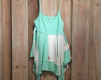 Mint Green Strap Tunic, Upcycled Clothing, Refashioned Clothing, Summer Tunic, Boho Clothing, Festival Wear, Artsy Tunic, Lagenlook tank