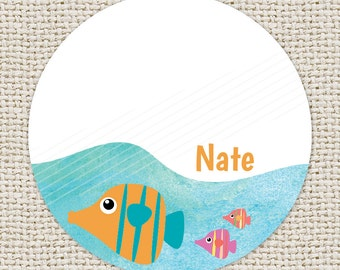 Personalized Gift Enclosure Cards & Custom Kids Gift Tags  |  Underwater: Fish  |  D-GT2.008