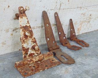 Rusty metal barn lot hinges industrial farm house loft decor