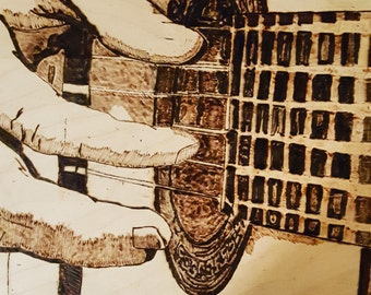 Woodburned Guitar