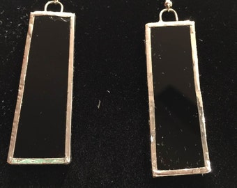 Black stained-glass earrings