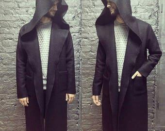 Black Coat/Mens long coat/Cardigan/Mens Wool Coat/Coat Wool/Black Cardigan/