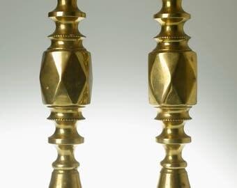 Early 20th Century brass Diamond Prince candle sticks