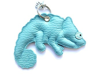 Chameleon leather pendant blue