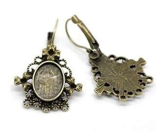 10 earrings, Ohrbrisuen, earring, earrings, cabochons, Cabochon, adhesive stones, dome stones, bronze, 10x14mm, 19807