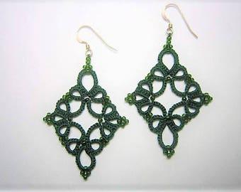 Green Lace Earrings, Green Earrings, Lace Earrings, Tatted Earrings, Tatted Jewelry, Lace Jewelry, Beaded Earrings, Beaded Lace