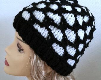 knitted CAP, black and white wool hat, hat for women, head circumference 54-56 cm, winter Hat