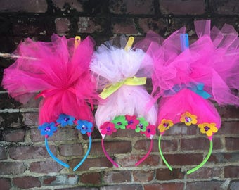 TROLL headband POPPY trolls headband trolls girl Birthday party smash cake trolls POPPY headband trolls party