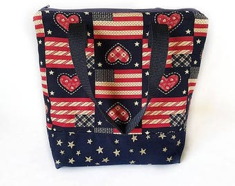 Insulated lunch bag, waterproof lunch bag, adult lunch bag, lunch tote, patriotic