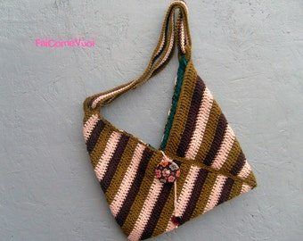 Crochet bag with stripes, shoulder bag, wool bag