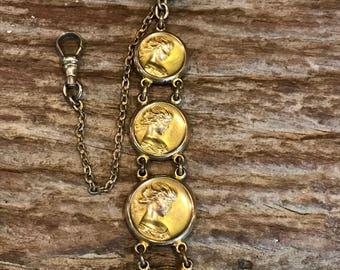Vintage collectible antique CQ&R art nouveau Repousse woman gold filled watch fob and chain