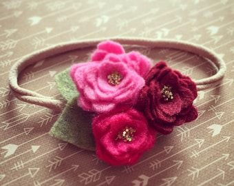 Burgundy, pink & purple rosette headband
