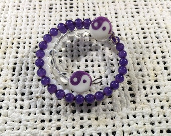 Purple and white yin/yang memory wire bracelet