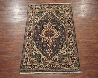 5X8 Hand-Knotted Heriz Persian Wool Area Rug Oriental Carpet (4.10 x 7.10)