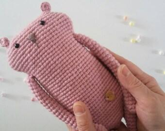 BABBADOUDOU-pink Bear amigurumi.  Doudou bear. Bedtime soft toys. cotton toy for baby shower gift.