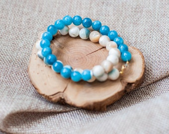 aquamarine, pearl.bracelet double love