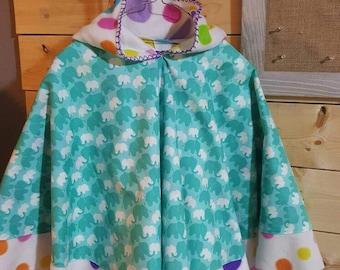 Girls Fleece lined Hooded Poncho cloak