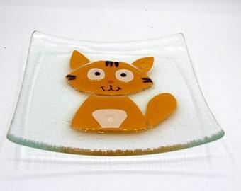empty Pocket plate - orange cat.