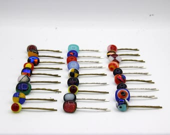 lot of 3 barrettes, hairpins hair, colored