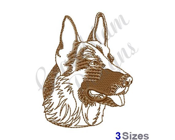 German Shepherd Head Outline Machine Embroidery Design