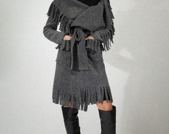 Boiled Wool Fringe Coat