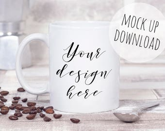 Coffee Mug Mockup Styled Photograph, White Mug Mock Up Stock Photo, psd Mug Template