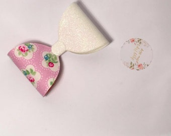 Pretty pink floral glitter hairbow headband/hair clip
