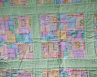 Alphabet and green Baby Quilt