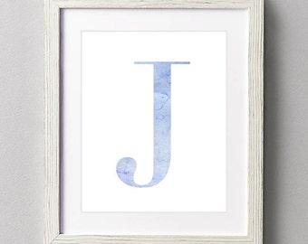 Letter J | Nursery Print | Nursery Art | Alphabet | Instant Download | Digital Print | Wall Art | Baby Boy | Initials | Blue | Watercolor
