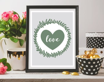 Love in a Heart & Wreath - Printable Artwork - Download and Print it Yourself