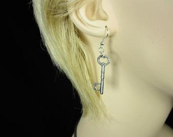MadMartin Antique Silver Heart Key earrings