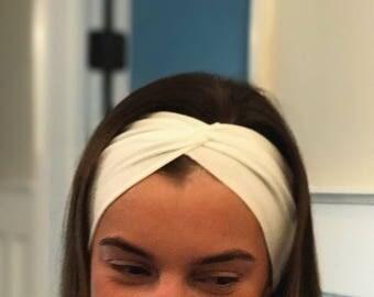 Ivory Yoga Headband Boho Headband Workout Headband  Everyday Headband